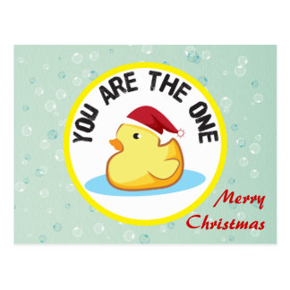 Merry Christmas yellow rubber duckie postcard