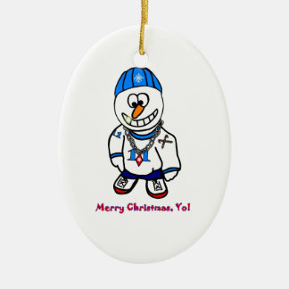 Merry Christmas Yo, Rapper Snowman Ceramic Ornament