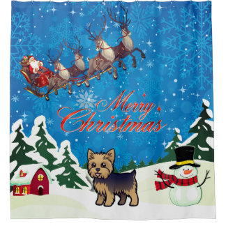 Merry Christmas Yorkie With Santa