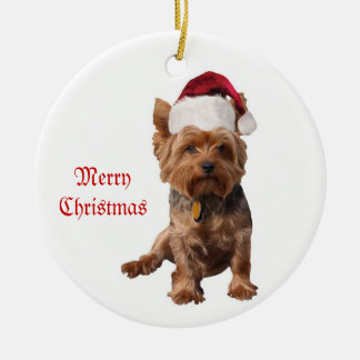 Merry Christmas Yorkshire Terrier Ornament