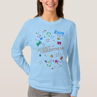 Merry Christmas (Your Name)  Music Notes T-Shirt