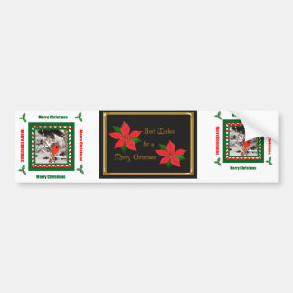 Merry ChristmasCardinal and Poinsettia Bumper Stic Bumper Sticker