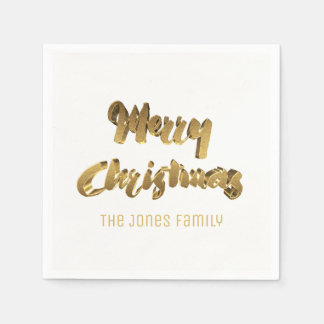 Merry ChristmasWhite Gold Handwriting Typography Paper Napkins