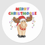 Merry Christmoose Christmas Classic Round Sticker