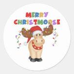 Merry Christmoose Christmas Classic Round Sticker