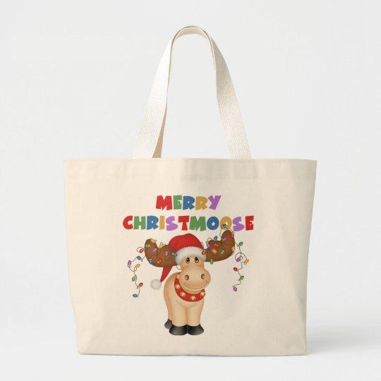Merry Christmoose Christmas Large Tote Bag