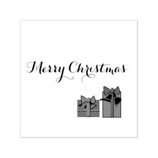 Merry Chritmas Self Ink Rubber Stamp w/presents