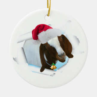 Merry Country Christmas Goat With Santa Hat & Bell Round Ceramic Ornament
