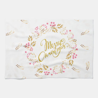 Merry Cristmas Wreath in Gold and Red Kitchen Towel