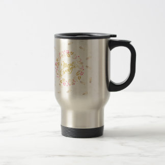 Merry Cristmas Wreath in Gold and Red Travel Mug