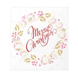 Merry Cristmas Wreath Notepad
