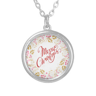 Merry Cristmas Wreath Silver Plated Necklace