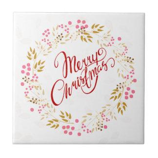 Merry Cristmas Wreath Tile