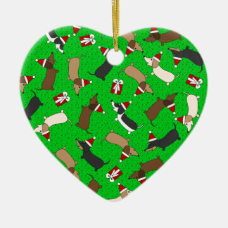 Merry Dachshunds Ceramic Ornament