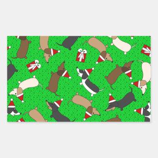 Merry Dachshunds Rectangular Sticker