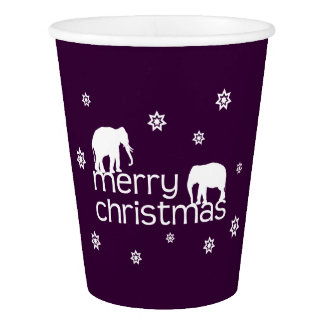 Merry Elephant Christmas Paper Cup