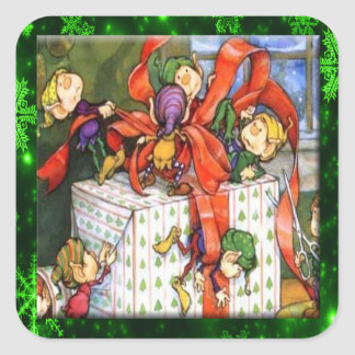 Merry Elves Wrapping Present Square Stickers