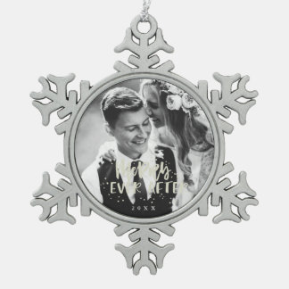 Merry Ever After | Wedding Photo Snowflake Pewter Christmas Ornament