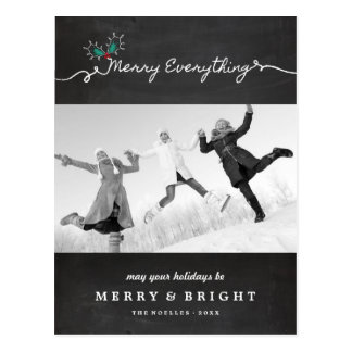 Merry Everything Chalkboard Holiday Postcard