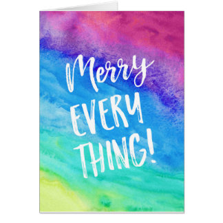 Merry Everything Christmas Card Rainbow Watercolor