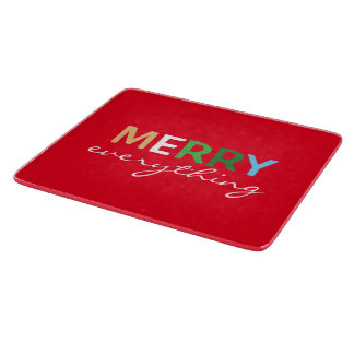 """Merry Everything"" Christmas Glass Cutting Board"