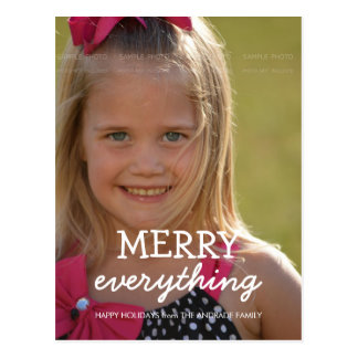 Merry Everything Christmas Photo Holiday Greetings Postcard