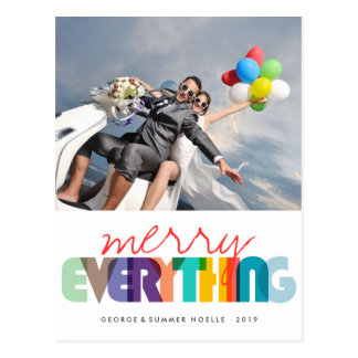 Merry Everything Colorful Holiday Photo Postcard
