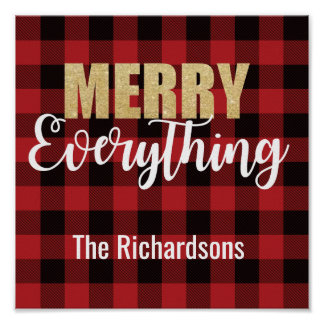 Merry Everything Decoration on Plaid