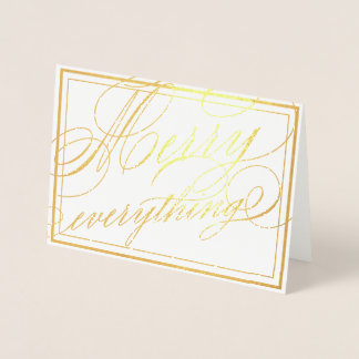 Merry Everything Elegant Calligraphy Script Foil Card