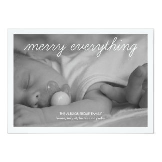 """Merry Everything Holiday Photo Green Christmas 5"""" X 7"""" Invitation Card"""