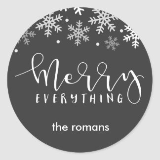 Merry Everything Holiday Snowflake GIft Classic Round Sticker