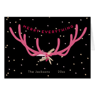 Merry Everything Pink Antlers Christmas on Black Card