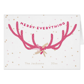 Merry Everything Pink Antlers Christmas on White Card