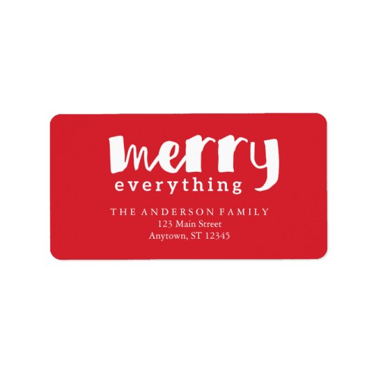 Merry Everything Red Address Labels