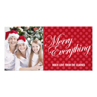 Merry Everything Red Polka Dots Photo Greeting Card