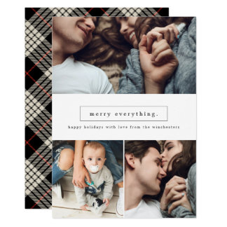Merry Everything Three Photo Collage Holiday Card