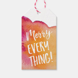 Merry Everything watercolor Christmas gift tags