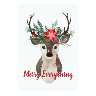 Merry Everything Watercolor Deer Antler Bouquet Card