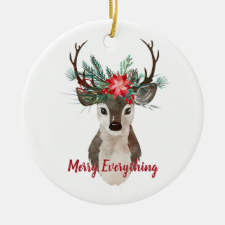 Merry Everything Watercolor Deer Antler Bouquet Ceramic Ornament