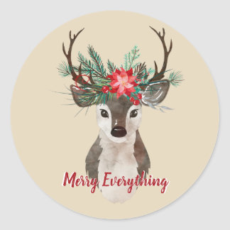Merry Everything Watercolor Deer Antler Bouquet Classic Round Sticker