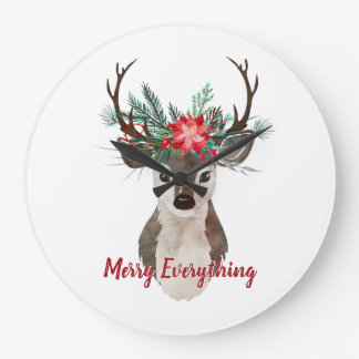 Merry Everything Watercolor Deer Antler Bouquet Large Clock