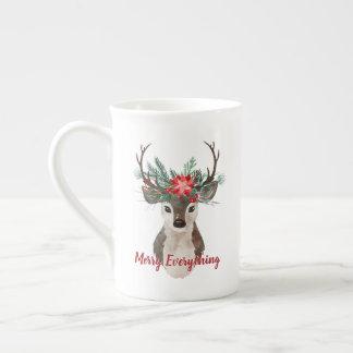 Merry Everything Watercolor Deer Antler Bouquet Tea Cup