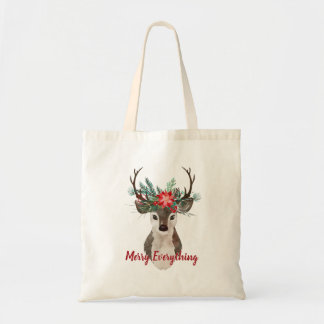 Merry Everything Watercolor Deer Antler Bouquet Tote Bag