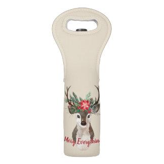Merry Everything Watercolor Deer Antler Bouquet Wine Bag
