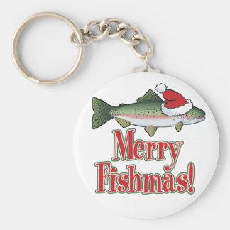 Merry Fishmas Basic Round Button Keychain