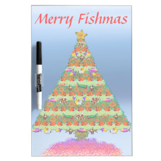 Merry Fishmas Fish Christmas Tree Dry Erase Board