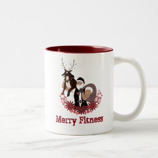 Merry fitness Christmas funny cover Two-Tone Coffee Mug