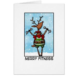 Merry Fitness Reindeer Greeting Card