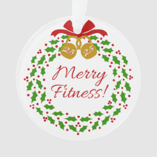 Merry Fitness Wreath Acryllic Circle Ornament