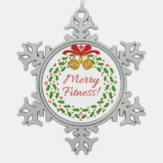 Merry Fitness Wreath Pewter Snowflake Ornament